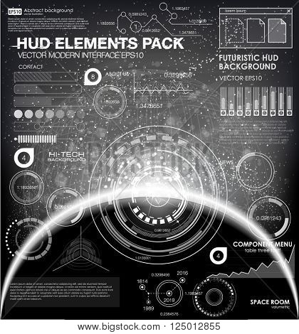HUD background outer space. infographic elements. futuristic user interface. Vector science Polygonal background. Black and white infographic elements. futuristic user interface HUD