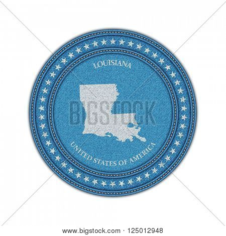 Label with map of louisiana. Denim style. Vector eps 10