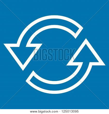 Sync Arrows vector icon. Style is thin line icon symbol, white color, blue background.