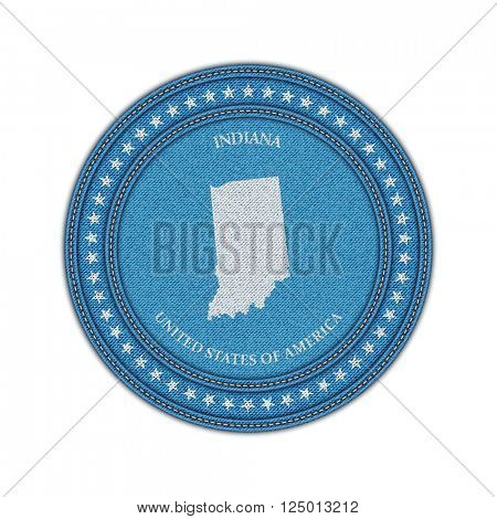 Label with map of indiana. Denim style. Vector eps 10