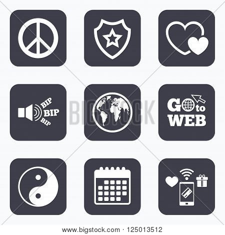 Mobile payments, wifi and calendar icons. World globe icon. Ying yang sign. Hearts love sign. Peace hope. Harmony and balance symbol. Go to web symbol.