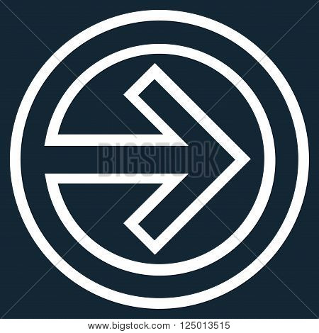 Import vector icon. Style is outline icon symbol, white color, dark blue background.