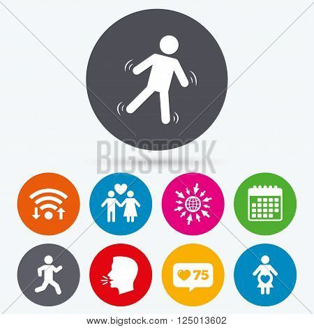 Wifi, like counter and calendar icons. Women pregnancy icon. Human running symbol. Man love Woman or Lovers sign. Human talk, go to web.