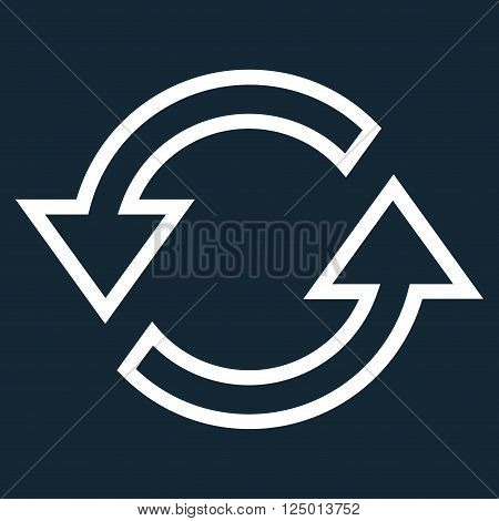 Sync Arrows vector icon. Style is thin line icon symbol, white color, dark blue background.