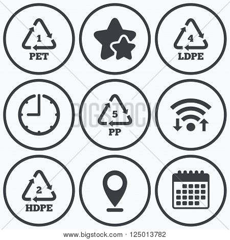 Clock, wifi and stars icons. PET 1, Ld-pe 4, PP 5 and Hd-pe 2 icons. High-density Polyethylene terephthalate sign. Recycling symbol. Calendar symbol.
