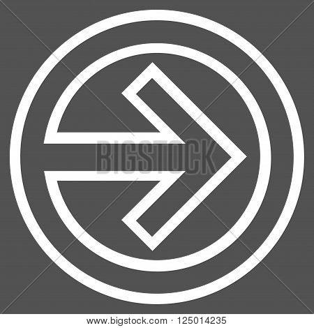 Import vector icon. Style is outline icon symbol, white color, gray background.