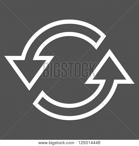Sync Arrows vector icon. Style is outline icon symbol, white color, gray background.