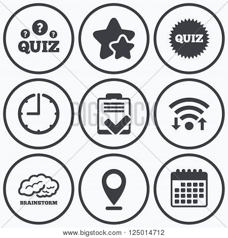 Clock, wifi and stars icons. Quiz icons. Brainstorm or human think. Checklist symbol. Survey poll or questionnaire feedback form. Questions and answers game sign. Calendar symbol.