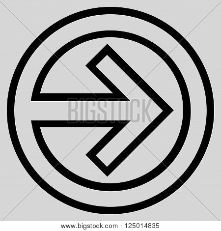 Import vector icon. Style is contour icon symbol, black color, light gray background.