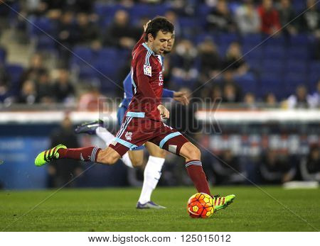 BARCELONA - FEB, 8: Ruben Pardo of Real Sociedad during a Spanish League match against RCD Espanyol at the Power8 stadium on February 8, 2016 in Barcelona, Spain