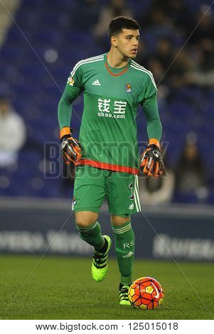 BARCELONA - FEB, 8: Geronimo Rulli of Real Sociedad during a Spanish League match against RCD Espanyol at the Power8 stadium on February 8, 2016 in Barcelona, Spain