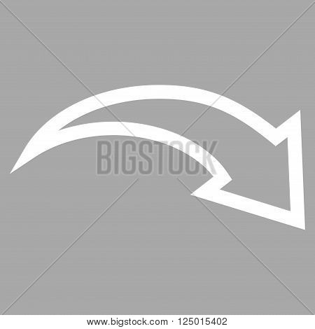 Redo vector icon. Style is contour icon symbol, white color, silver background.