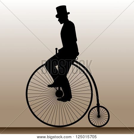 Vintage bicycle. The man in the hat on an old bicycle. Vector illustration.