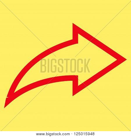 Redo vector icon. Style is contour icon symbol, red color, yellow background.