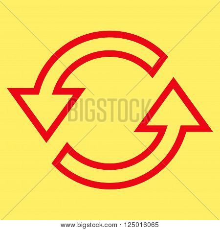 Sync Arrows vector icon. Style is contour icon symbol, red color, yellow background.