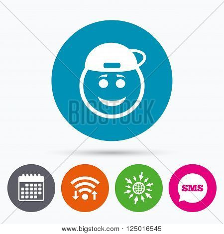 Wifi, Sms and calendar icons. Smile rapper face sign icon. Happy smiley with hairstyle chat symbol. Go to web globe.