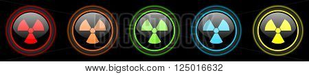radiation colored web icons set on black background