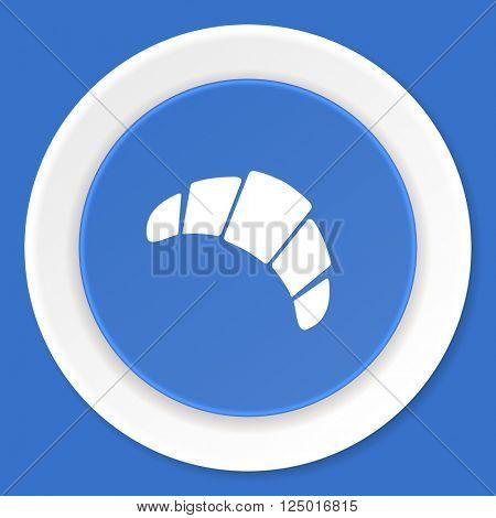croissant blue flat design modern web icon