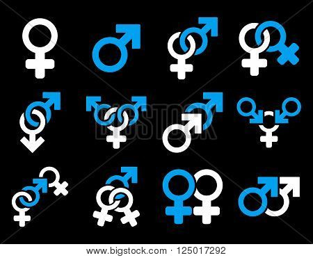 Sexual Relation Symbols vector icon set. Style is bicolor blue and white flat symbols isolated on a black background.
