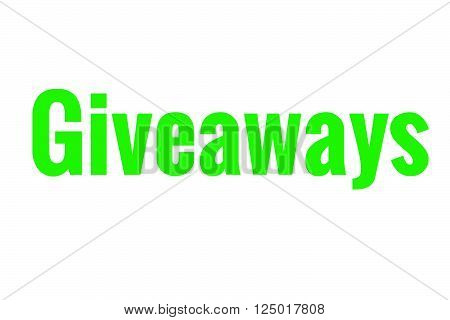 The word giveaways in light green. Great for blogs or businesses.