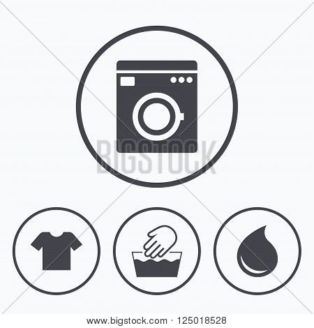 Washing machine icon. Hand wash. T-shirt clothes symbol. Laundry washhouse and water drop signs. Not machine washable. Icons in circles.