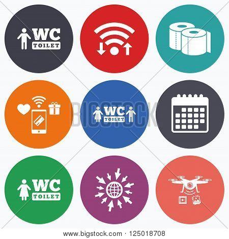 Wifi, mobile payments and drones icons. Toilet paper icons. Gents and ladies room signs. Man and woman symbols. Calendar symbol.