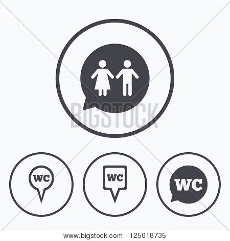 WC Toilet pointer icons. Gents and ladies room signs. Man and woman speech bubble symbols. Icons in circles.