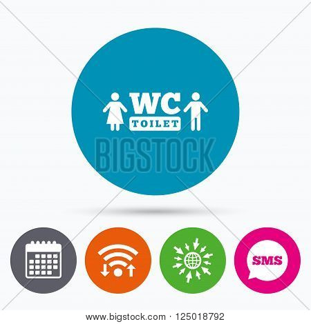 Wifi, Sms and calendar icons. WC Toilet sign icon. Restroom or lavatory symbol. Go to web globe.