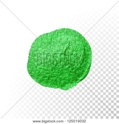 Vector green watercolor brush stroke. Green varnish splash line trace.Green abstract oil paint smear on transparent background.