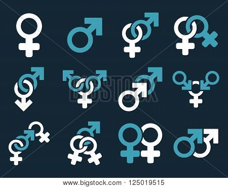 Sexual Relation Symbols vector icon set. Style is bicolor blue and white flat symbols isolated on a dark blue background.