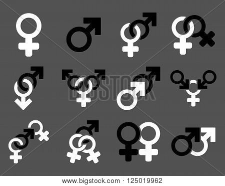 Sexual Relation Symbols vector icon set. Style is bicolor black and white flat symbols isolated on a gray background.