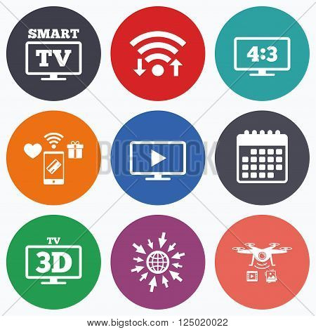 Wifi, mobile payments and drones icons. Smart TV mode icon. Aspect ratio 4:3 widescreen symbol. 3D Television sign. Calendar symbol.