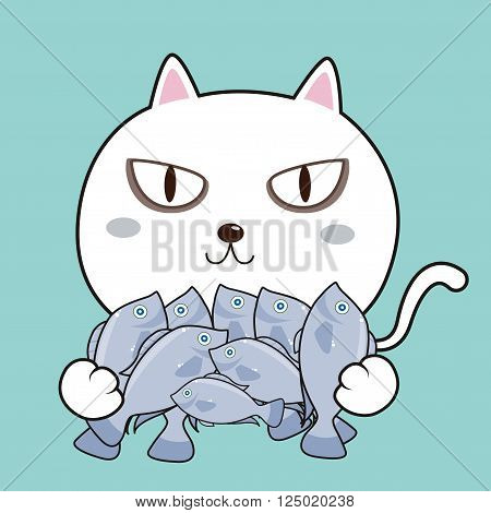 Cat and fish cartoon character , white cat