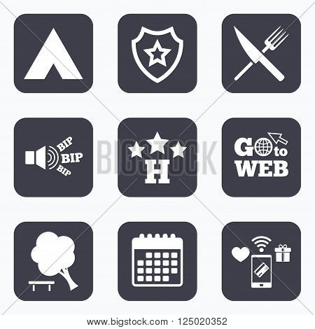 Mobile payments, wifi and calendar icons. Food, hotel, camping tent and tree icons. Knife and fork. Break down tree. Road signs. Go to web symbol.