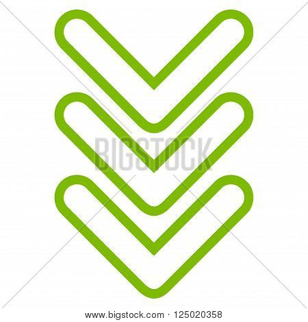 Triple Pointer Down vector icon. Style is stroke icon symbol, eco green color, white background.
