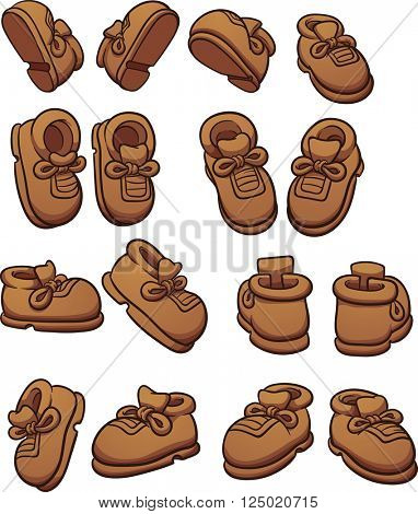 Cartoon shoes in different positions. Vector clip art illustration with simple gradients. Each on a separate layer.