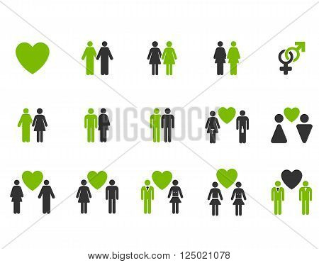 Love Pairs vector icon set. Style is bicolor eco green and gray flat symbols isolated on a white background.
