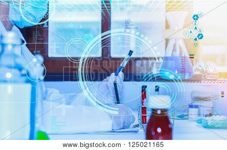 Flask in scientist hand with test tubes for analysis.