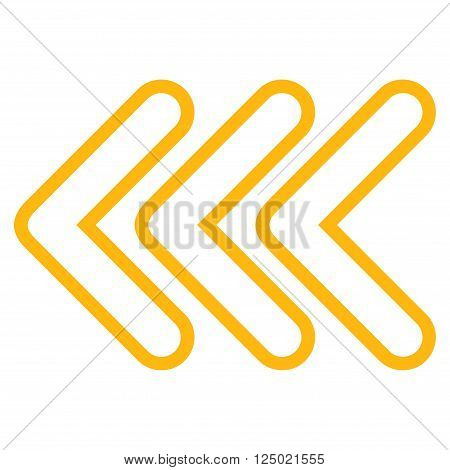 Triple Pointer Left vector icon. Style is contour icon symbol, yellow color, white background.
