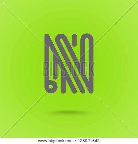 N Letter. N Line Logo Design Element Type. Letter L on Green Background