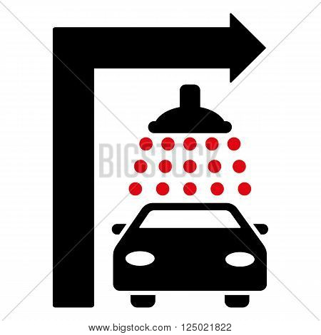 Carwash Turn Right vector illustration for street advertisement. Style is bicolor intensive red and black flat symbols on a white background.