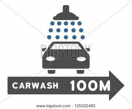 Carwash Right Direction vector illustration for street advertisement. Style is bicolor cobalt and gray flat symbols on a white background.