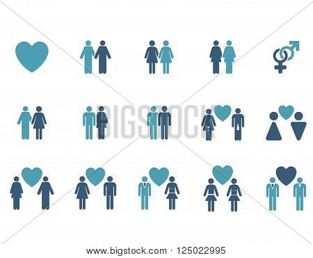 Love Pairs vector icon set. Style is bicolor cyan and blue flat symbols isolated on a white background.