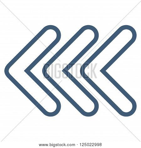 Triple Pointer Left vector icon. Style is stroke icon symbol, blue color, white background.
