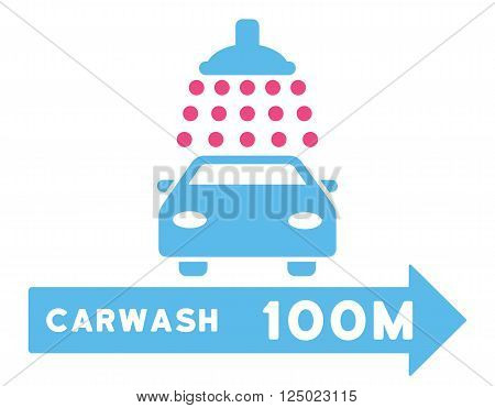 Carwash Right Direction vector illustration for street advertisement. Style is bicolor pink and blue flat symbols on a white background.