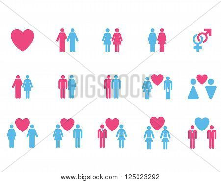 Love Pairs vector icon set. Style is bicolor pink and blue flat symbols isolated on a white background.