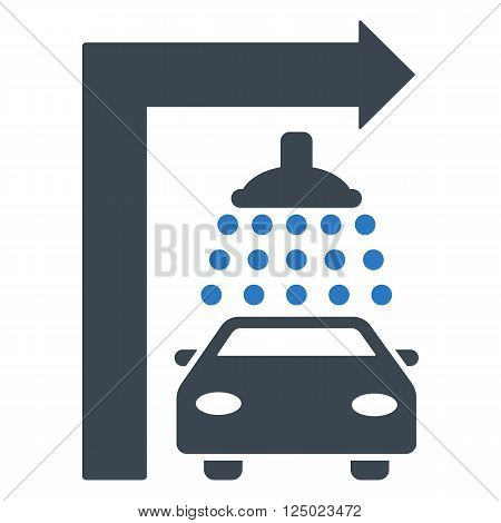 Carwash Turn Right vector illustration for street advertisement. Style is bicolor smooth blue flat symbols on a white background.
