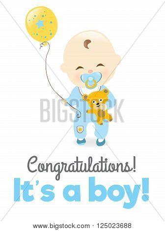 Illustration of a baby boy holding teddy bear