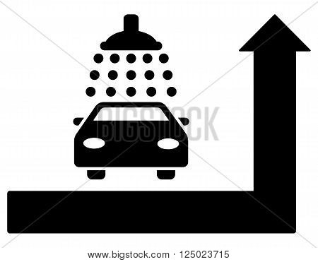 Carwash Turn Ahead vector illustration for street advertisement. Style is black flat symbols on a white background.