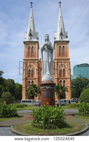 HO CHI MINH CITY, VIETNAM - DECEMBER 19, 2015: The virgin Mary monument in front of the Cathedral. The historic landmark of the city of Ho Chi Minh city, Vietnam